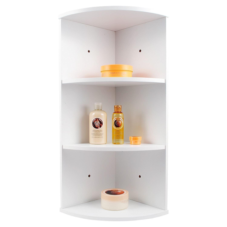 3 TIER WHITE WOODEN CORNER WALL MOUNTED BATHROOM STORAGE ... on Bathroom Corner Shelf  id=36055