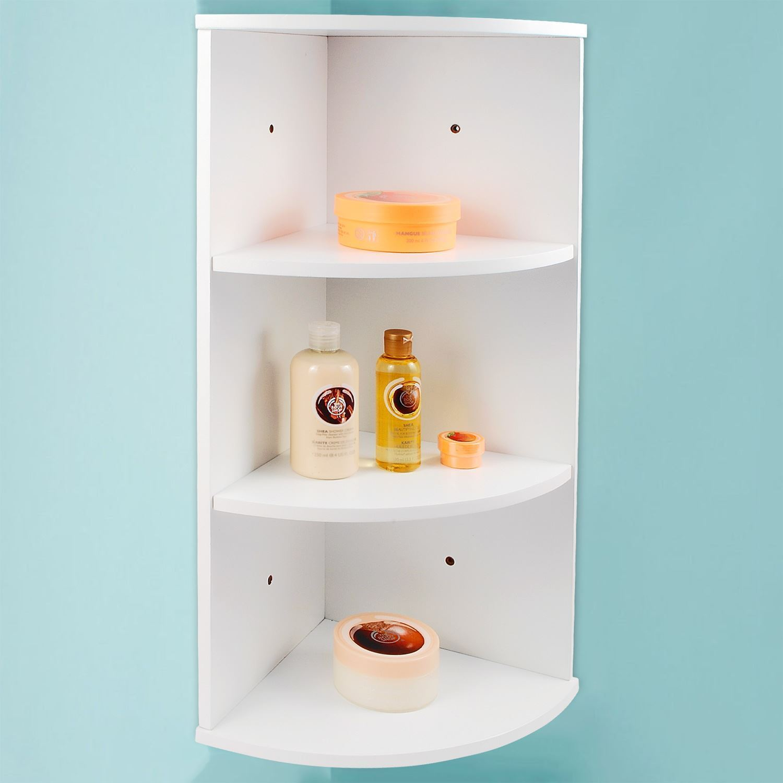 3 TIER WHITE WOODEN CORNER WALL MOUNTED BATHROOM STORAGE ... on Bathroom Corner Shelf  id=51462