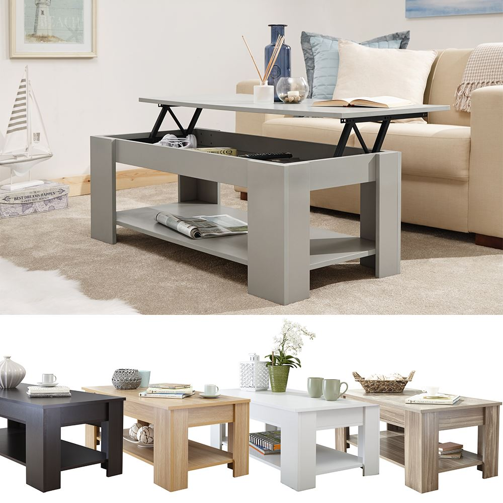 modern wooden lift up coffee table tea