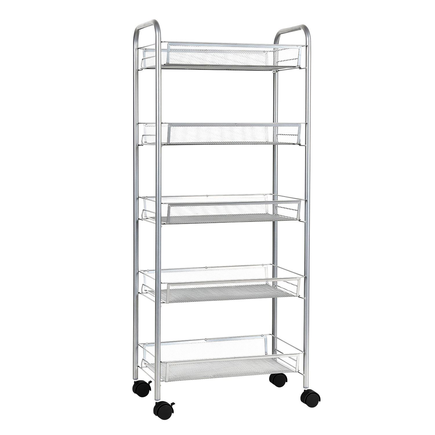 3 4 5 Tier Metal Rolling Wheel Kitchen Trolley Storage