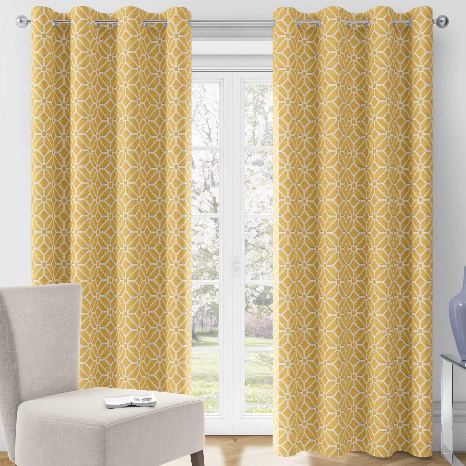 details sur ocre oeillet rideaux jaune geometrique double bague haut pret fabrique rideau paire afficher le titre d origine