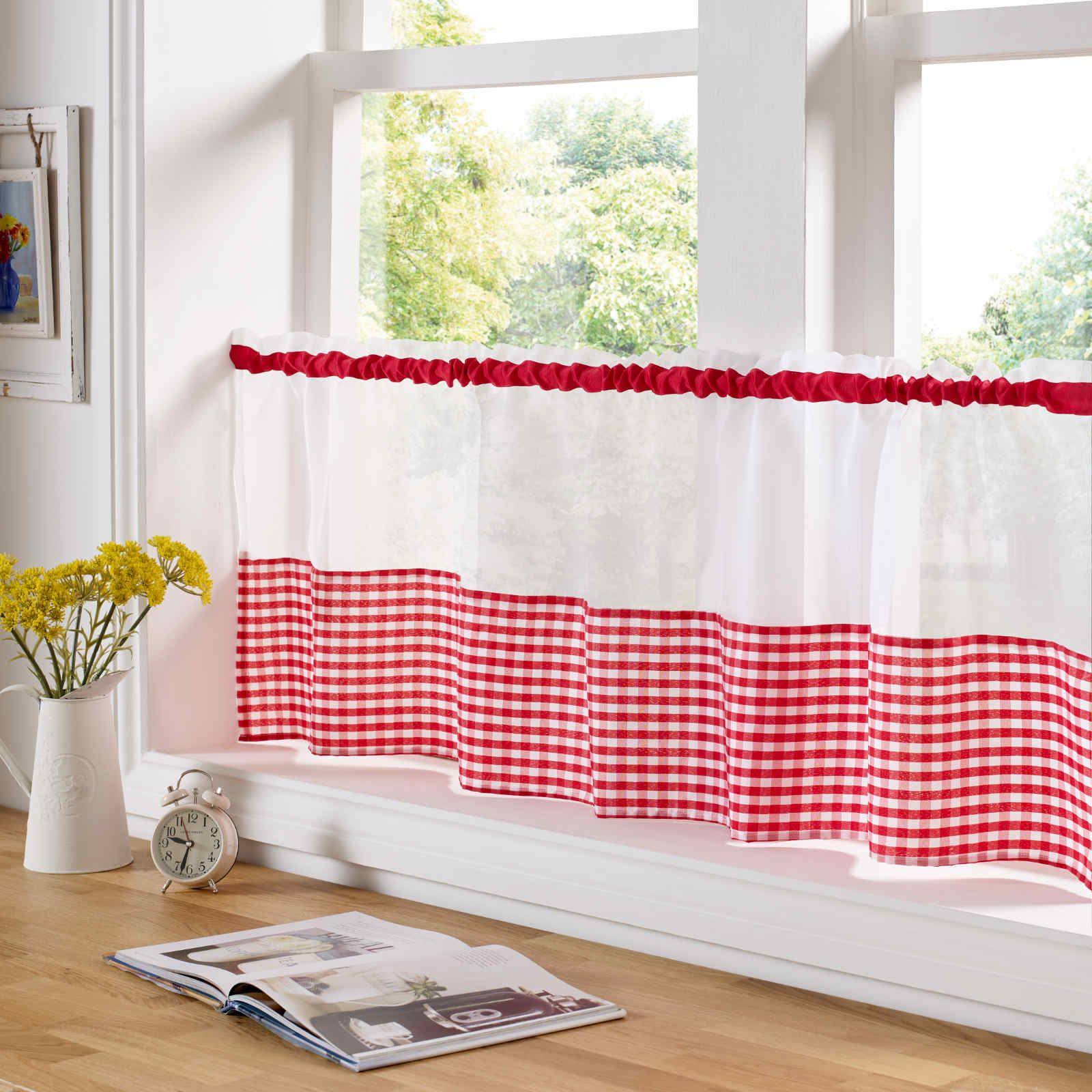 Country Style Kitchen Gingham Curtain Pair Window D S