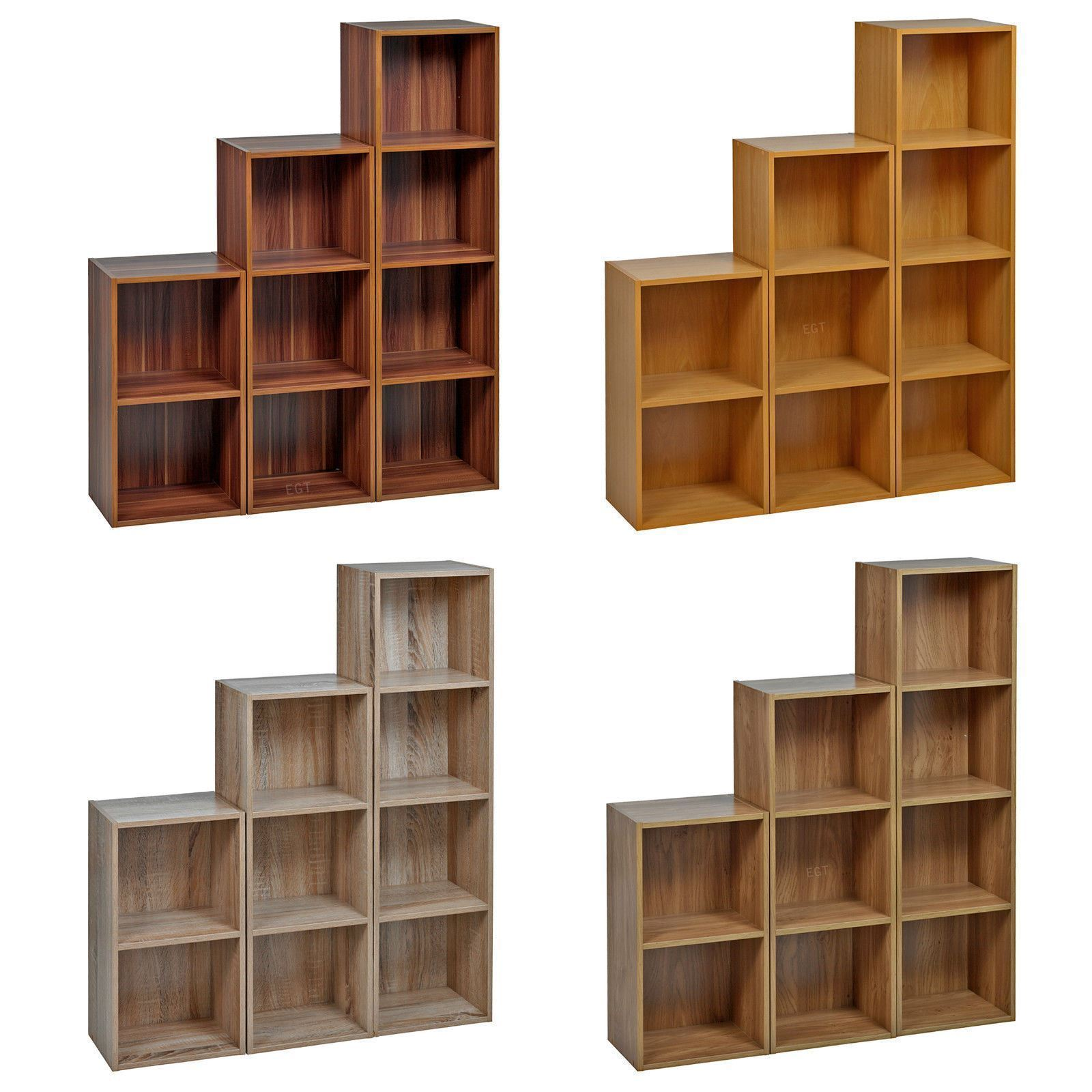 Details About 2 3 4 Tier Wooden Bookcase Display Storage Shelving Shelves Wood Shelf Unit New