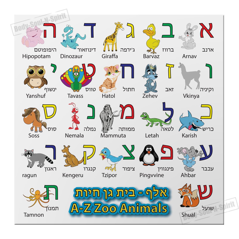 Hebrew Alphabet Magnet Alef Bet Zoo Animals Characters