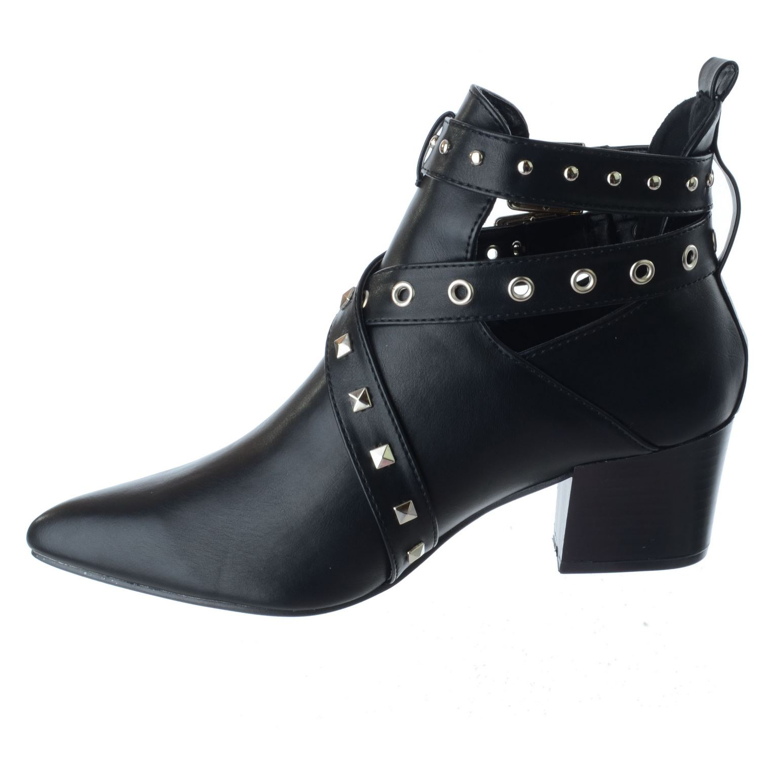 La S Womens Low Mid Block Heel Studs Point Toe Cut Out