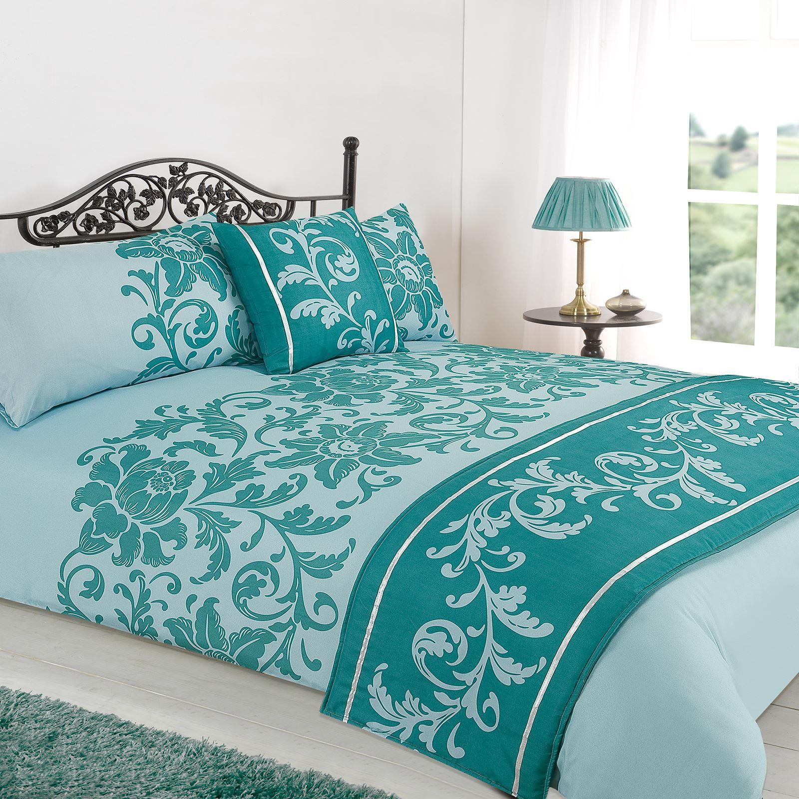 Floral Duck Egg Blue Grey Bed In A Bag Duvet Cover Bedding