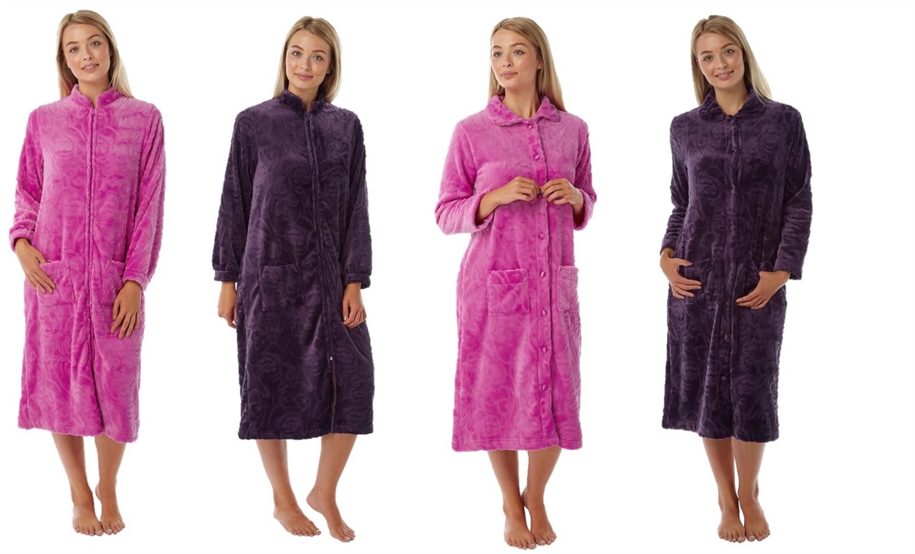 Ladies Womens Dressing Gown Zip Up Button Bath Soft Warm
