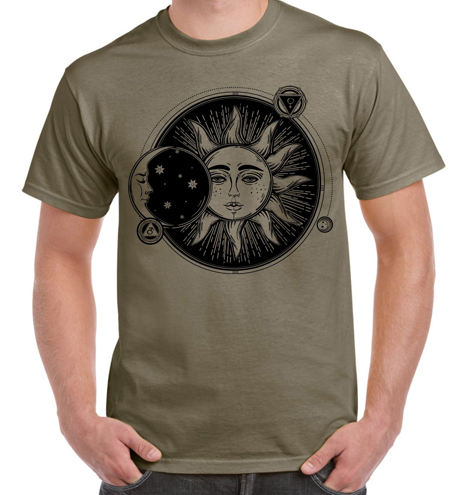 Sun And Moon Eclipse Hipster Tattoo Large Print Men S T