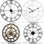 Stunning Extra Large Metal Wall Clock Skeleton Wall Clock Silent Indoor Garden Roman Numeral Open Face Round Iron White 24inch Outdoor Decor Outdoor Clocks Outdoor Decor Patio Lawn Garden