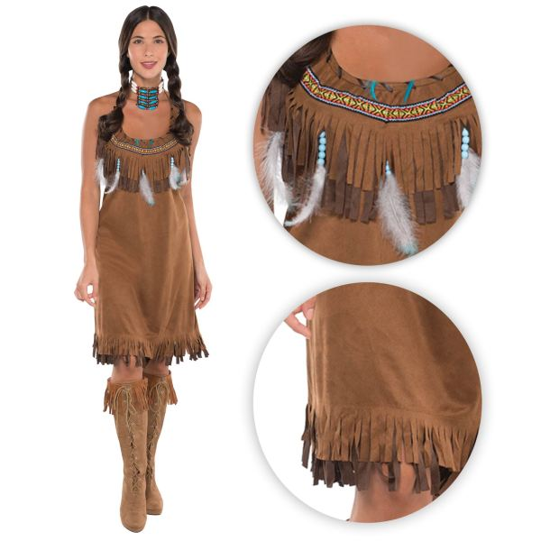 Ladies Womens Red Indian Fancy Dress Costume Pocahontas ...