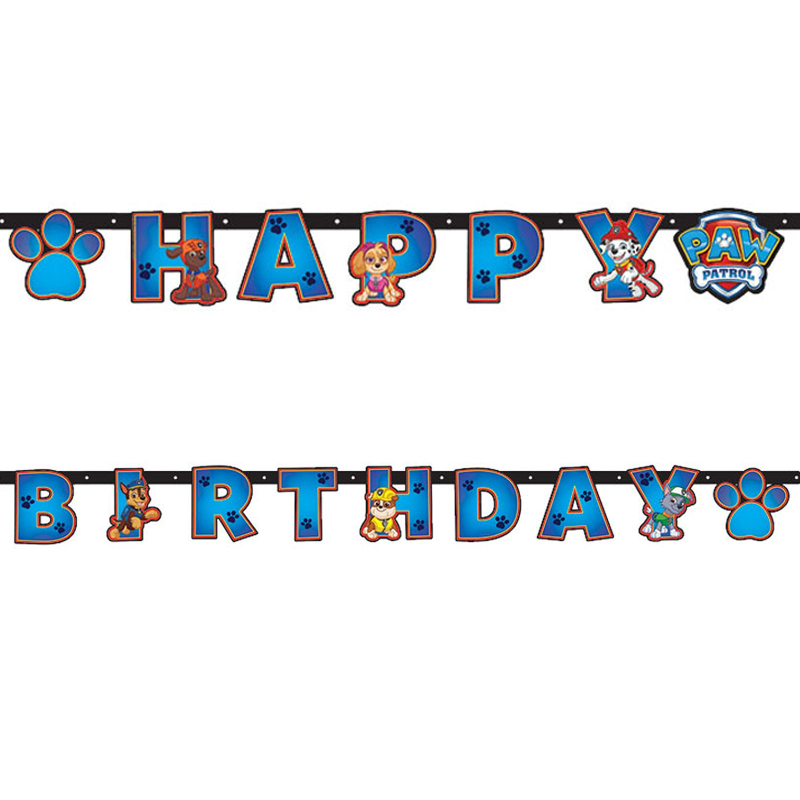 2 4m Paw Patrol Happy Birthday Letter Banner Party