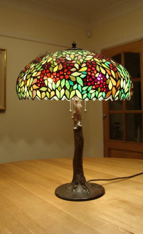 The Handel Company Leaded Glass Art Nouveau Table Lamp
