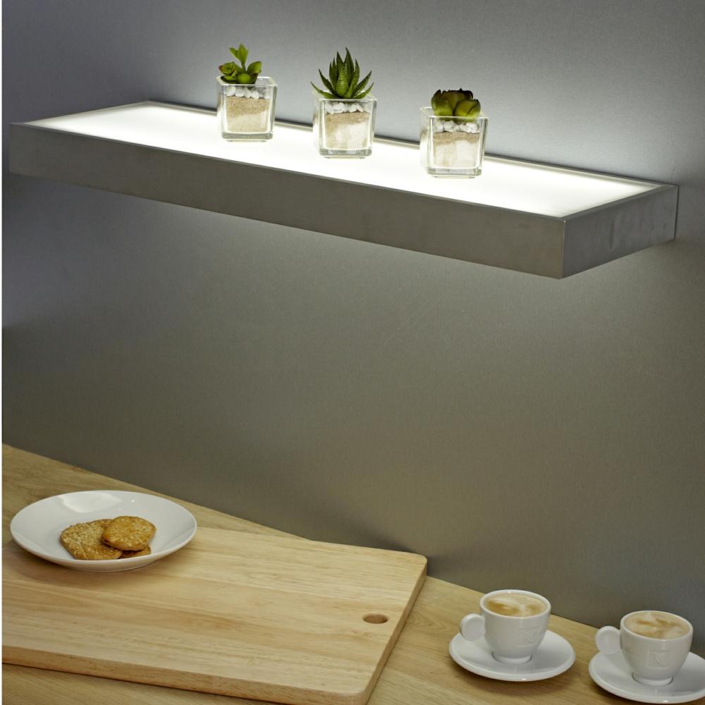sirius 600mm floating box led lighting glass shelves