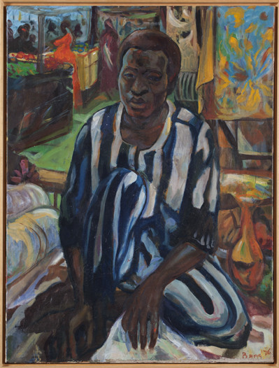 Armand Baag, De stoffenhandelaar, 1976, olieverf op doek. Collectie Stedelijk Museum Amsterdam