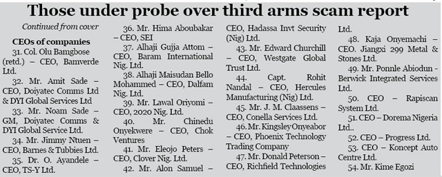 Those under probe over third arms scam report