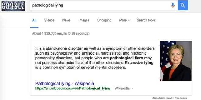 Hillary Clinton, mensonge pathologique et Wikipedia