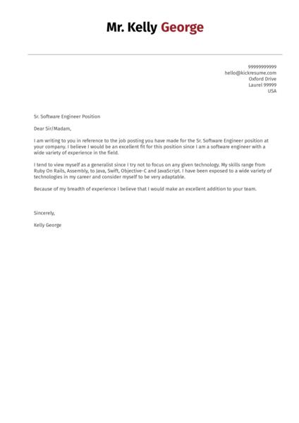 Senior Software Engineer Cover Letter Sample Kickresume