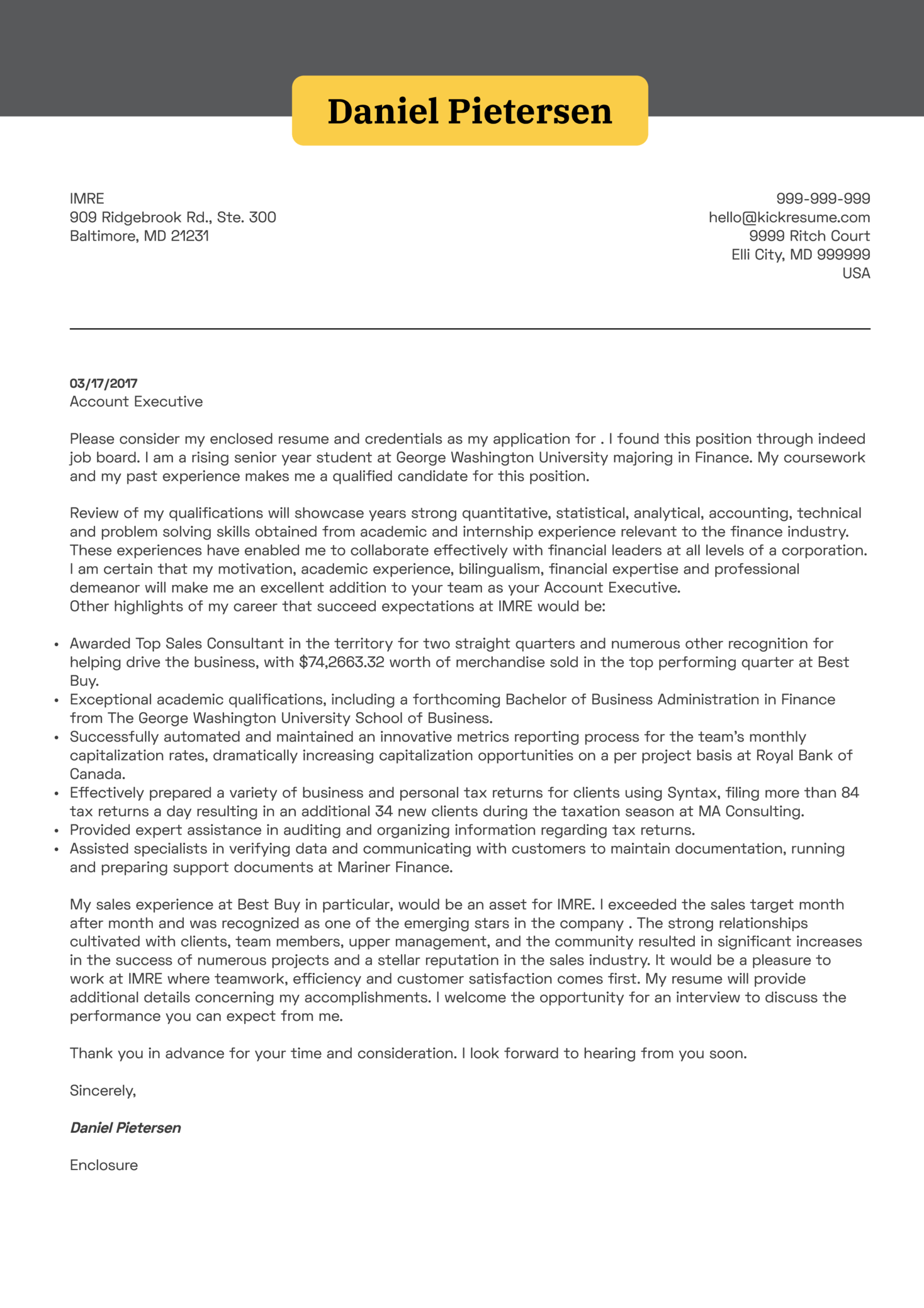 Cover Letter Examples By Real People Account Executive
