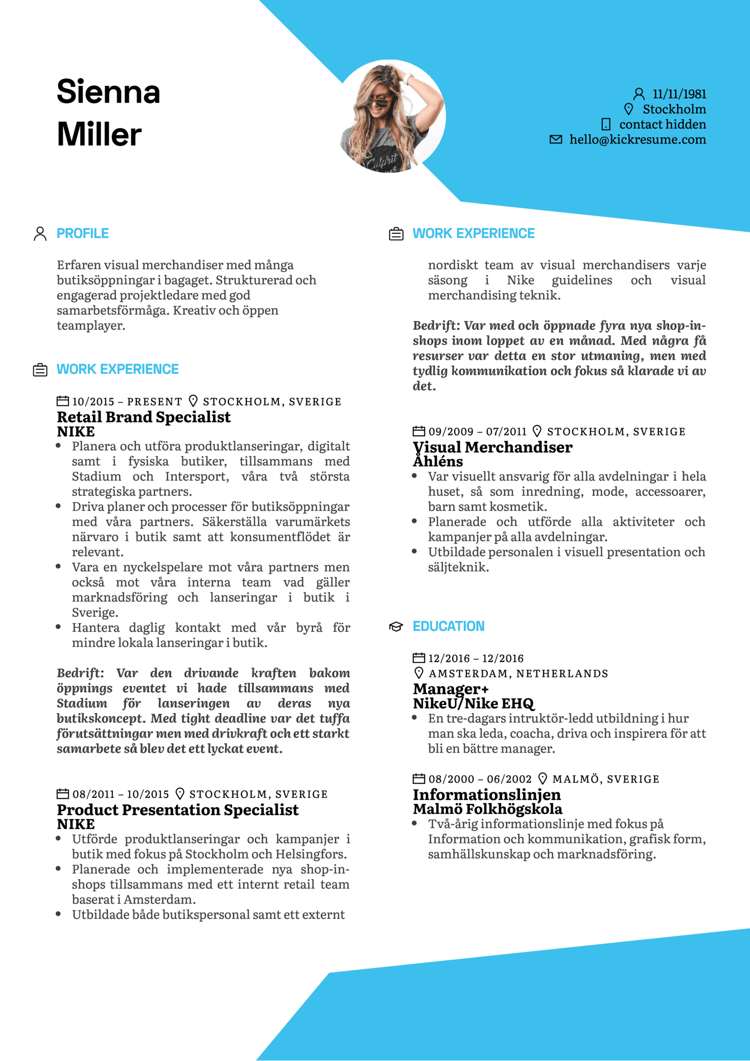 Resume Examples By Real People Nike Retail Brand Specialist Swedish Kickresume