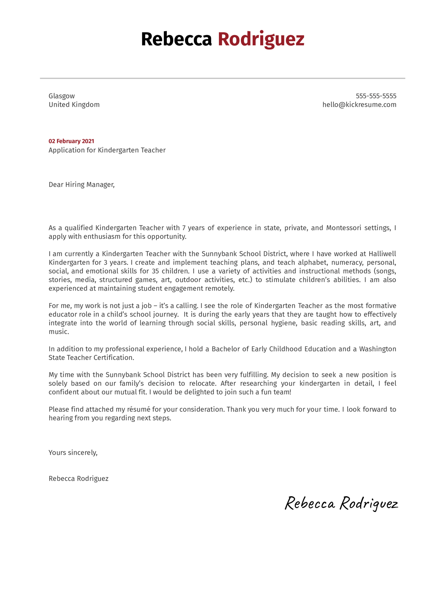 Application Letter For Teacher Teacher Cover Letter Example And Writing Tips When Writing A Cover Letter Be Sure To Reference The Requirements Listed In The I Have Been A Classroom