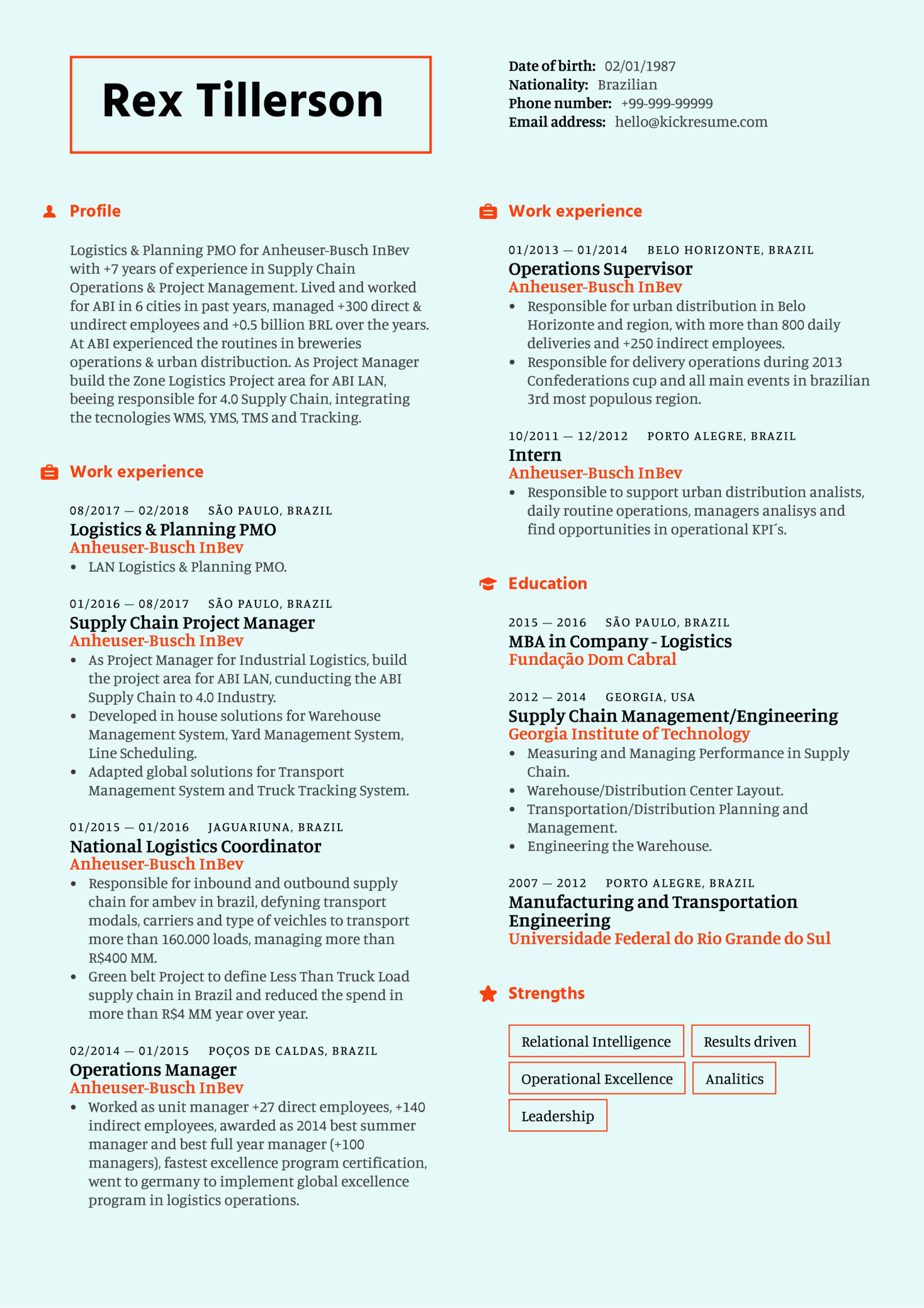 Resume Examples By Real People Supply Chain Project Manager Resume Sample Kickresume
