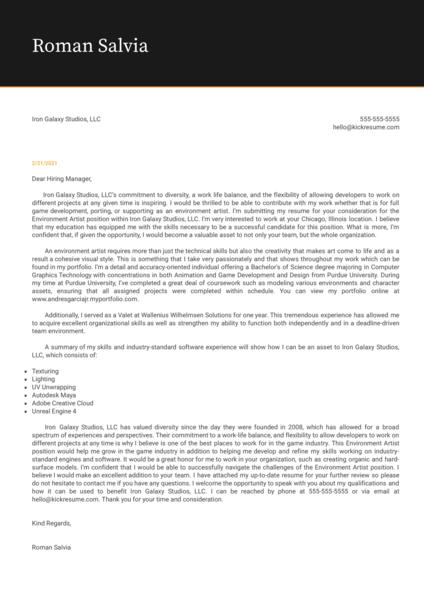 Art Design Cover Letter Examples Kickresume
