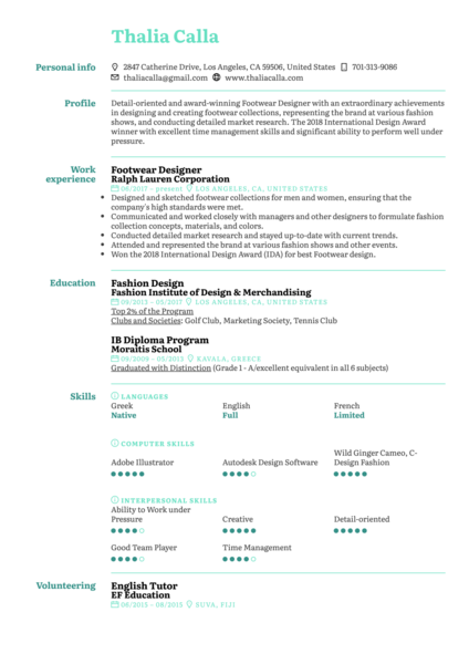 Art Design Resume Samples From Real Professionals Who