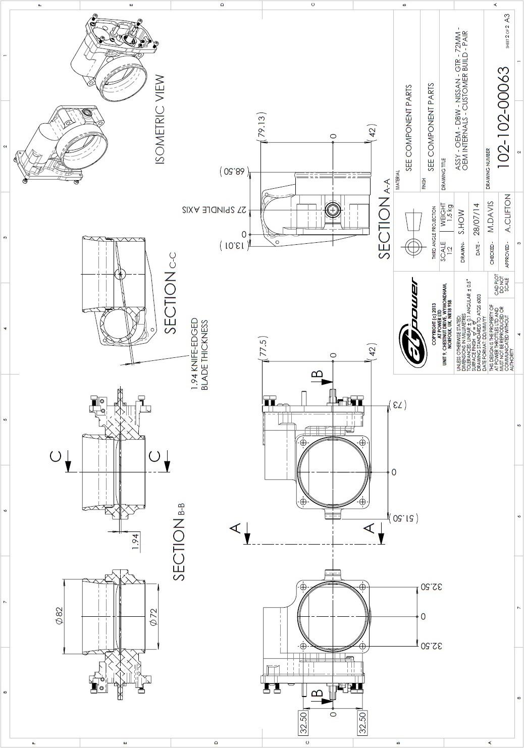 Nissan Gtr R35 Dbw Std Oem Internals 72mm Throttle Body