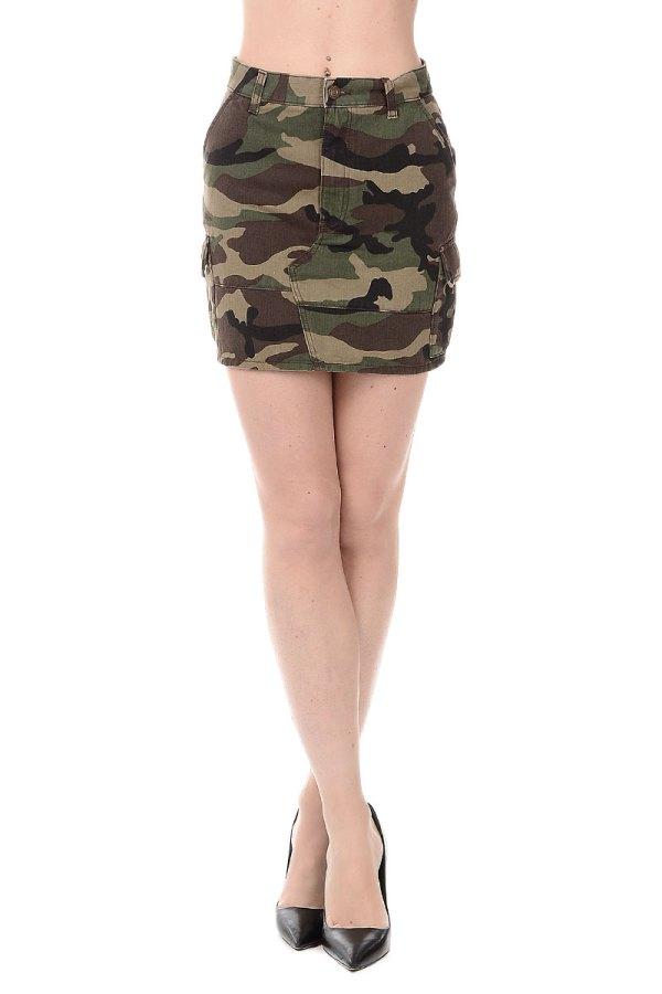 Saint Laurent Women Military Cotton Mini Skirt - Glamood ...