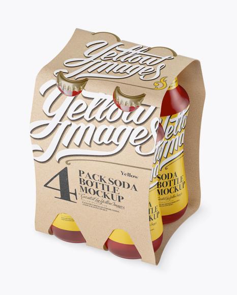 4 Kraft Pack Pink Drink Bottle Mockup - Halfside View (High-Angle) Packaging Mockups
