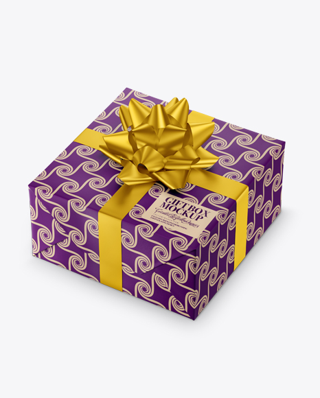 Textured Paper Gift Box with Matte Metallic Bow Packaging Mockups