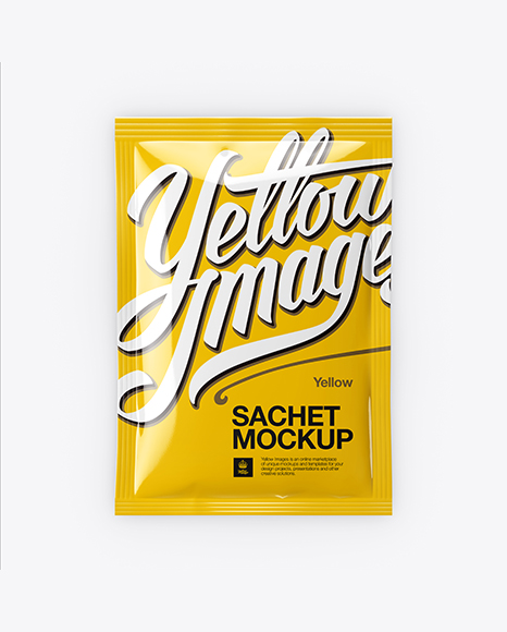 Download Box With Metallic Sachets Psd Mockup Yellowimages