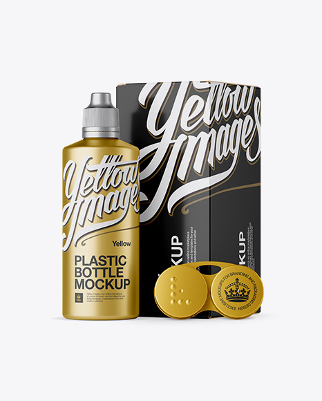 5996c430e337d Metallic Plastic Bottle With Carton Box & Case Mockup templates