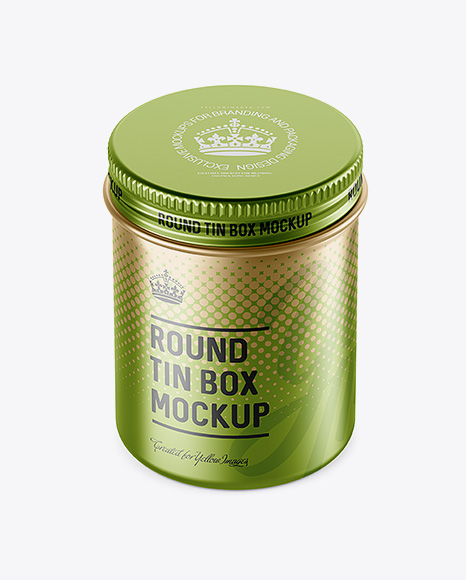 Download Metal Round Tin Can Psd Mockup Yellow Images