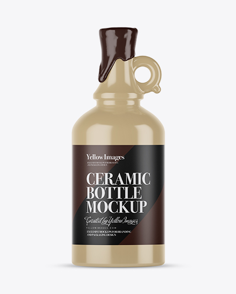Download Ceramic Bottle With Wax Psd Mockup Yellowimages