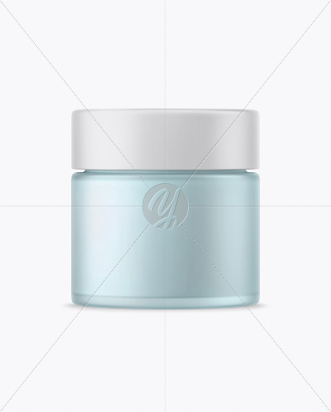 Download Frosted Green Glass Cosmetic Jar Psd Mockup Yellowimages
