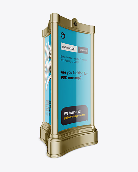 Download Advertising Poster Pillar with Glossy Poster Mockup - Half Side View Object Mockups