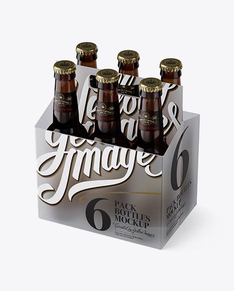 Transparent Plastic 6 Pack Amber Bottle Carrier Mockup - 3/4 View (High-Angle Shot) Packaging Mockups