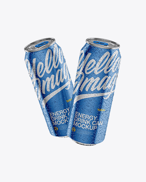 Two 500ml Metallic Aluminium Cans W/ Condensation Packaging Mockups