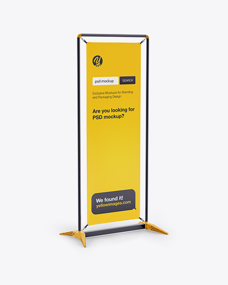 5a0c379bab5f9 Glossy Vinyl Stand-Up Banner in Frame Mockup - Half Side View templates
