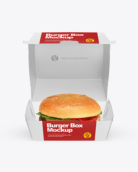 Download Free PSD Mockup Burger Box Mockup - Front View (High-Angle ...