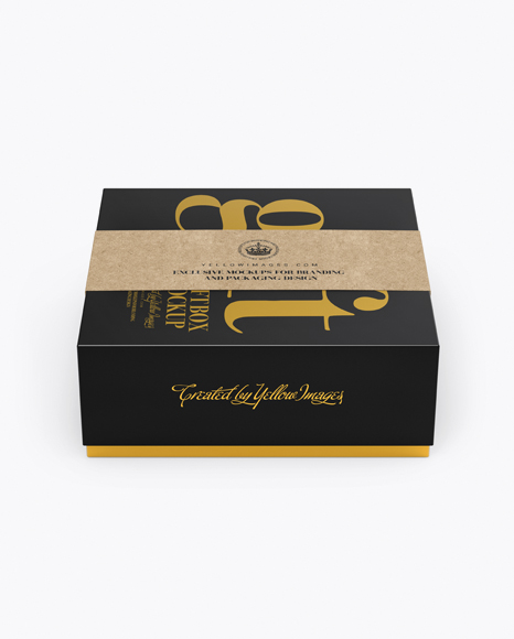 Glossy Box with Label Mockup (High-Angle Shot) Packaging Mockups