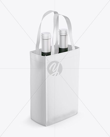 Chips bag mockup featuring a customizable background. Bag With Wine Bottles Mockup Half Side View High Angle Shot In Bag Sack Mockups On Yellow Images Object Mockups