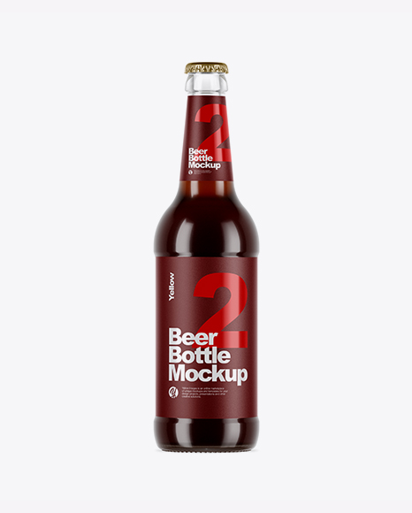 5acb40ad55f58 Clear Glass Brown Ale Bottle Mockup templates