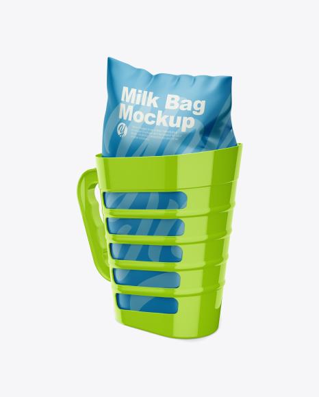 Milkholder W/ Milk Bag Mockup - Half Side View