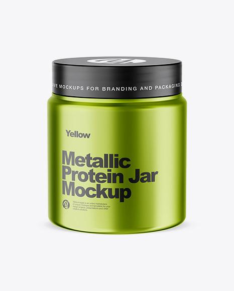 Metallic Protein Jar Mockup (High-Angle Shot)