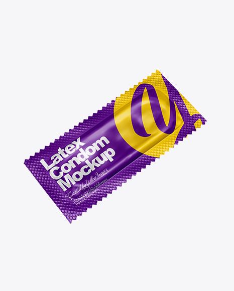 Matte Condom Packaging Mockup - Half Side View