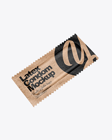 Kraft Paper Condom Packaging Mockup - Half Side View