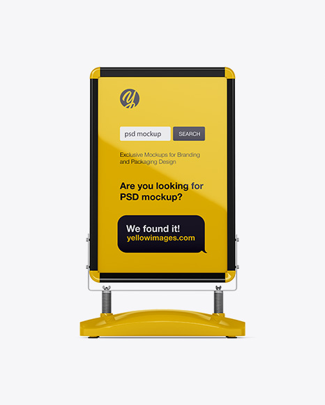 Glossy Pavement Stand Mockup - Front View