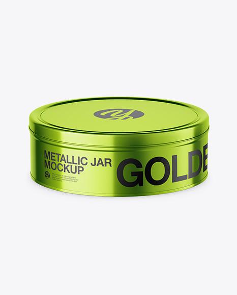 Metallic Round Tin Can Mockup (High-Angle Shot)